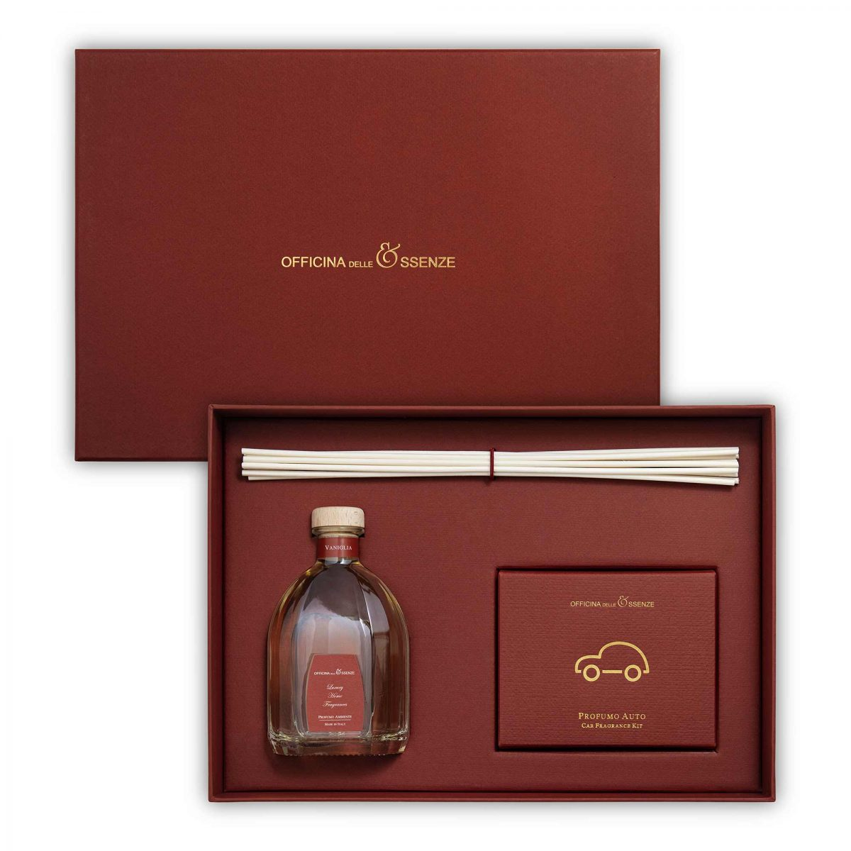 The gift box contains a 250 ml Home reed Diffuser and a Car Fragrance Kit