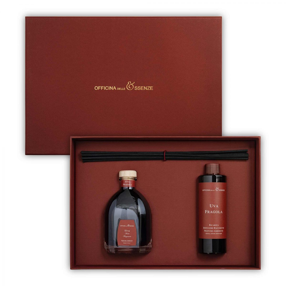 The gift box contains a 250 ml Home reed Diffuser and a 250 ml Refill