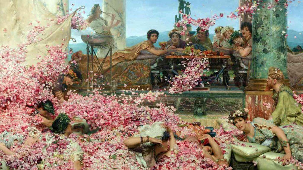 Pioggia di petali durante una cena nella Roma Antica