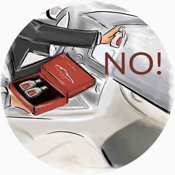 Mai nebulizzare la fragranza direttamente sul cruscotto o sui sedili dell'auto!
